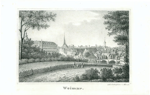 """Weimar""  Anonymous lithograph printed and published by Halle & Walther in Weimar.  Individual lithograph, not published or produced in a book. RARE!  View of Weimar from the hillside."
