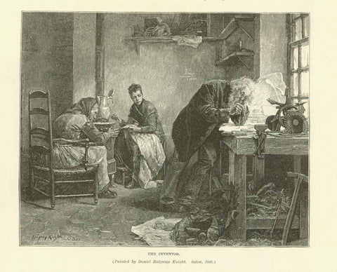 """The Inventor""  Wood engraving made after the painting by David Ridgway Knight. Published 1895. Reverse side is printed with unrelated text."