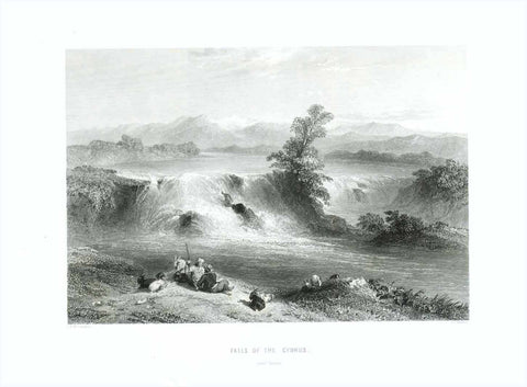 """Falls of the Cydnus"" ""near Tarsus""  Steel engraving by J. C. Bentley after C.Wilbreham. Published 1854."