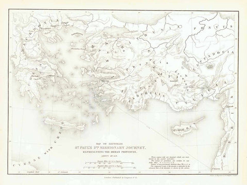 """Map to Illustrate St. Paul's 2nd Missionary Journey Representing the Roman Provinces"" ""About 50 A.D.""  Steel engraving map by W. Hughes in London. Published 1854."