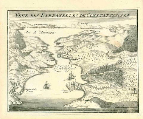 """Veue des Dardanelles de Constantinople""  Copper engraving by N. De Fer ca 1700. Published in Paris.  In the distance near the top of the mage is Constantinople (Istanbul). On the left side is Europe and on the right is Asia., interior design, wall decoration, ideas, idea, gift ideas, present, vintage, charming, special, decoration, home interior, living room design"