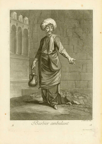 "Turkish Barber. - ""Barbier ambulant""  Copper etching by Gerard Jean-Baptiste Scrotin I. (1671-1737)  Published in ""Costumes Turcs"". Plate 58  London, 1707/08  Original antique print , interior design, wall decoration, ideas, idea, gift ideas, present, vintage, charming, special, decoration, home interior, living room design"