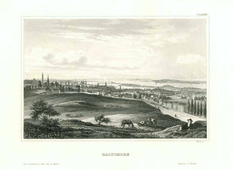 """Baltimore""  Steel engraving by the Biblio. Graph. Institut in Hildburghausen ca 1850."