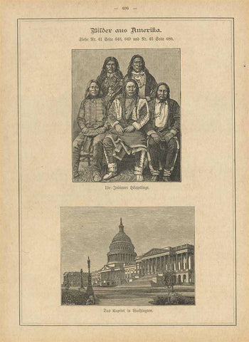 """Bilder aus Amerika""  Images from America Upper image: ""Ute Indianer Haeuptlinge"" Lower image: ""Das Kapitol in Washington""  Wood engravings published 1880. On the reverse side is unrealted text.  Original antique print , interior design, wall decoration, ideas, idea, gift ideas, present, vintage, charming, special, decoration, home interior, living room design"
