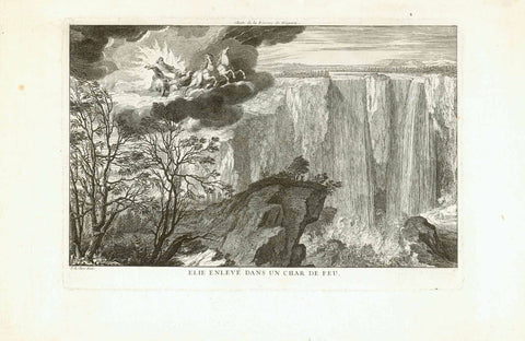 "Niagara Falls. - ""Elie enleve dans un char de feu""  Prophet Elijah in a chariot of fire, pulled by two horses and racing through the sky on a cloud.  Title above print: ""Chute de la Riviere de Niagara"" - Niagara Falls.  The impressive waterfalls at an early stage after discovery.  Copper etching by Sebastien LeClerc Jr. (1676-1763)  Paris, ca. 1720  Original antique print"
