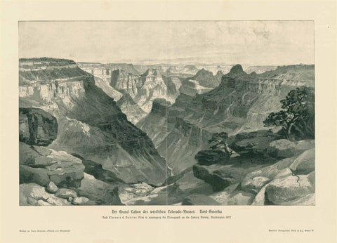 """Der Grand Canyon des westlichen Colorado Flusses. Nord Amerika""  Wood engraving after Clarence Dutton, published 1895. Vertical centerfold. Very light spots in upper margin near edge."