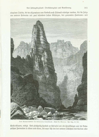 """Das Kanab-Cañon im Colorado-Tafellsnd""  Wood engraving made after a painting by Thomas Moran. Published 1904. German text about Colorado continues on reverse side.  Original antique print , interior design, wall decoration, ideas, idea, gift ideas, present, vintage, charming, special, decoration, home interior, living room design"