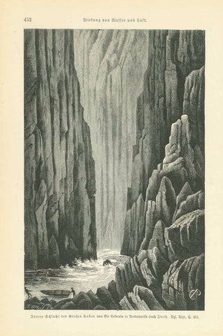 "Innere Schlucht des Grossen Canon vom Rio Colorado in Nordamerika""  Artistic wood engraving after Yves published ca 1895.  Original antique print   On the reverse side is German text about the geology of canyons of he Colorado River."