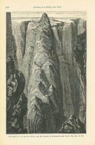 """Seitenpfeier des Grossen Canon vom Rio Colorado in Nordamerika""  Artistic wood engraving after Yves published ca 1895.  Original antique print   On the reverse side is German text about the geology of canyons of he Colorado River. Very light natural age toning."