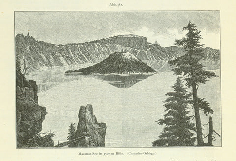 """Mazammas See in 3500m Hoehe. (Cascaden Gebirge)"" (Crater Lake in Oregon)  Wood engraving published 1897. Reverse side is printed."