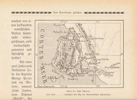 5 separate pages published ca 1900 about Tiburon Island. Text in German. 5 text phoos and a small map of the island. The photos above show Seri Indians. interior design, wall decoration, ideas, idea, gift ideas, present, vintage, charming, special, decoration, home interior, living room design