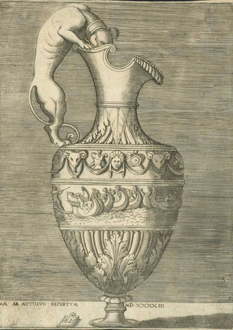 Very early copper engraving dated1543 by Enea Vico ( born 1523 in Parma, Italy - died 1567 in Ferarra, Italy).  Enea Vico signed his initials EA V in the small tablet in the lower left white area. He was famous for his engravings of vases and grotesque images. In the Tuscany he made prints for Cosimo I de Medici. He made a series of prints of the Women of Augsburg ( Donne Auguste ) in 1557. He made 500 engravings in Ferrara in the palazzo of Alfonso II d'Este.   Original antique print