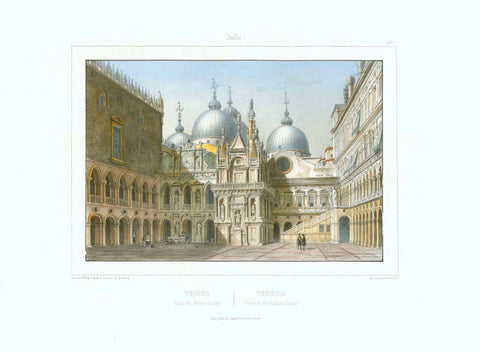 """Venise Cour du Palais Ducal - Venezia Cortile del Palazzo Ducale""  Lithograph in splended original hand coloring be Deroy after the drawing by Billmark.  Paris, ca. 1850  Original antique print , interior design, wall decoration, ideas, idea, gift ideas, present, vintage, charming, special, decoration, home interior, living room design"