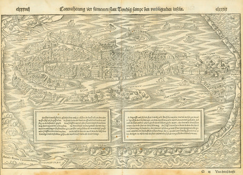 "Venice. - ""Contrafhetung der fuernemen statt Venedig sampt den umligenden inseln""  Half bird's eye view of Venice  Woodcut.  Published in ""Cosmographia""  By Sebastian Muenster (1488-1552)German edition  Printer: Petri.  Basel, 1553"