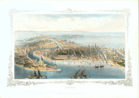 """Venedig"" Venice  Steel etching by W. French after the drawing by A.H.Payne. Leipzig and Dresden, ca. 1850  Very finely executed general view of Venice from a bird's-eye position. Surrounded by a decorative bordure.  Attractive hand coloring.  Original antique print , interior design, wall decoration, ideas, idea, gift ideas, present, vintage, charming, special, decoration, home interior, living room design"