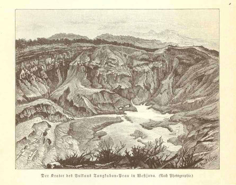 """Der Krater des Vulkans Tangkuban Prau in Westjava""  Wood engraving made after a photograph on a page of text (in German) about Java and Mt. Tangkuban."
