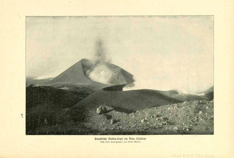 """Parasitische Vulkan Kegel am Aetna (Sizilien)""  Text photo by Ledru Mauro published 1905. On the reverse side is a lava formation image on the Kilauea crater in Hawaii and text.  13.5 x 21 cm ( 5.3 x 8.2 "")"