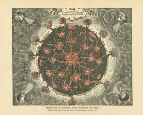 """Erddurchschnitt mit Zentralfeuer, seitlichen Feuerherden und Vulkanen"" (Earth middle cut with the center fire and the fires going out to the edge with the volcanos)  Wood engraving made after a copper engraving (1665) by Athanasius Kircher (1602-1680). This print was published 1895."