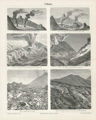 """Vulkane""  Wood engraving images of Aetna (Etna) and Vesuvius 1805-1880.  Published 1895."
