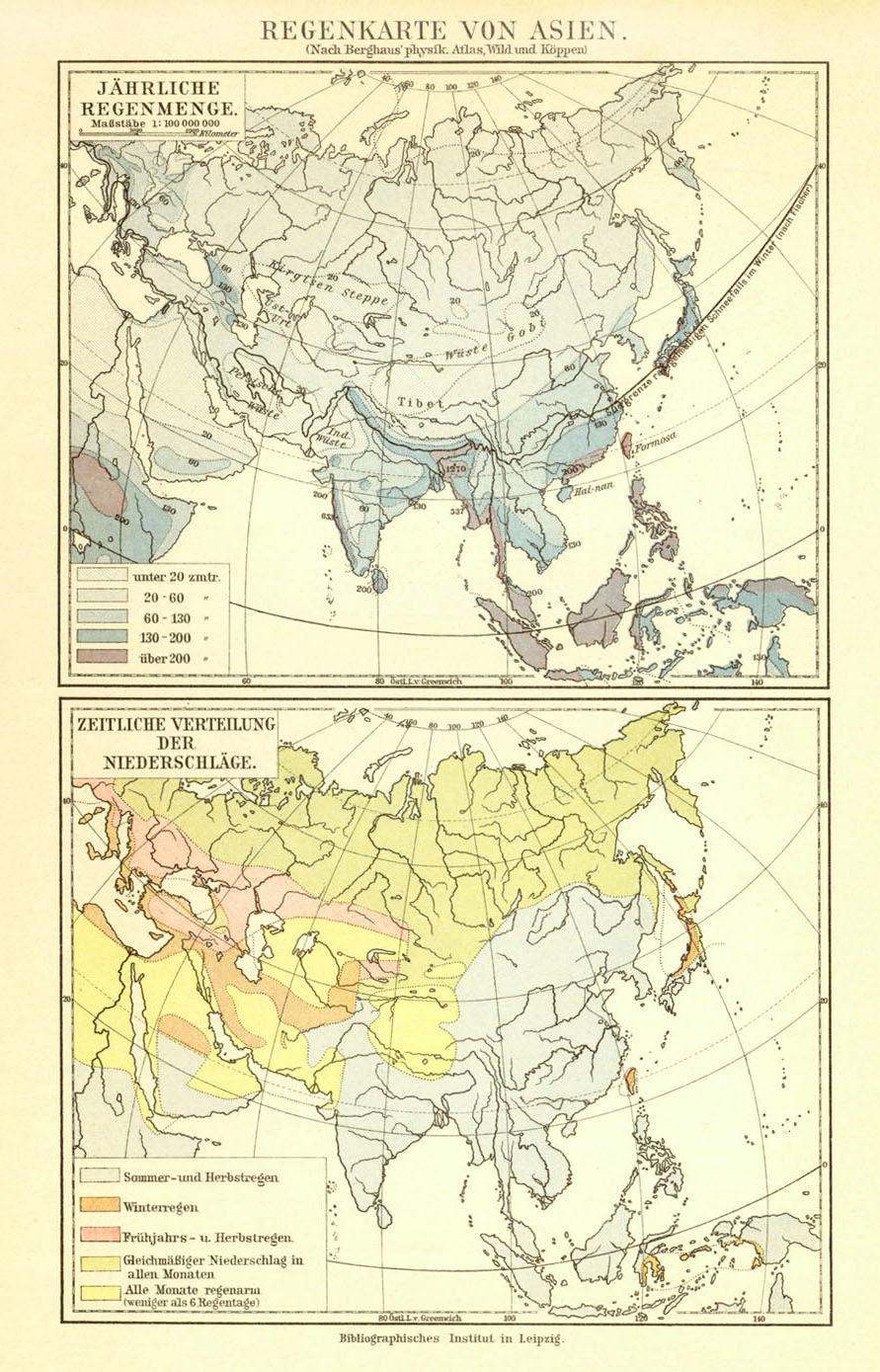 """Regenkarte von Asien"" (rainfall map of Asia)  Maps show rainfall in various regions of Asia.  Published 1890."