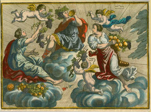 No title. Bacchus (Dionysus)  Anonymous copper etching with original hand coloring. Ca. 1720 - 1750  Bacchus, sitting on a cloud, being served grapes and fruit in abundance.  Original antique print , interior design, wall decoration, ideas, idea, gift ideas, present, vintage, charming, special, decoration, home interior, living room design
