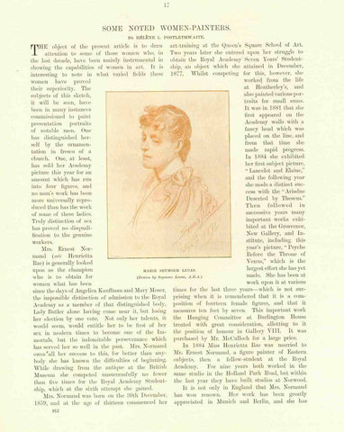 """Some Noted Women Painters""  Article by Helene L. Poswtlethwaite. Published 1895.  3 separate pages with 7 images of women painters.  Some of the women shown; Marie Seymour Lucas, Marianne Stokes Mary Waller, Henrietta Normand and others."