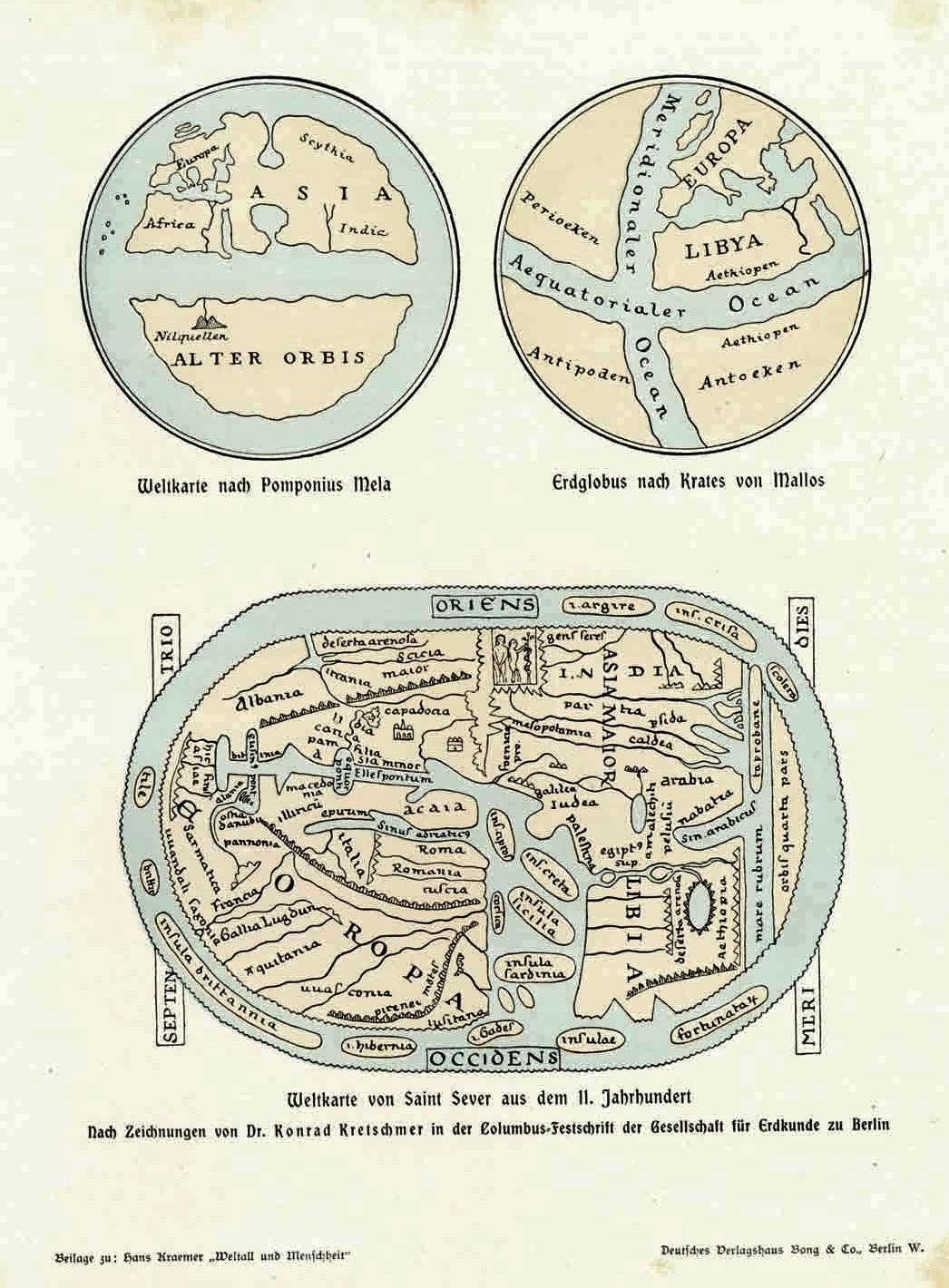 """Weltkarte von Saint Sever aus dem 11. Jahrhundert""  Wood engravings made after the drawings by Dr. Konrad Kretschmer of ancient maps. Published 1900."