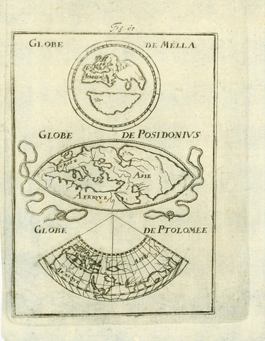 """Globe de Mella"" ""Globe de Posidonius"" ""Globe de Ptolomee""  Copper engraving map by Mallet ca 1690. Shows three very old maps of the known world. Very minor signs of age and use."