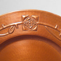 "Hand-hammered Roycroft-style ""Rose and Vine"" Copper Plaque"
