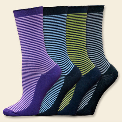 Organic Cotton Cushioned Crew Striped Dress Socks