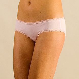 Women's Organic Cotton Soft Pink Bikini With Lace - Large or Extra Large