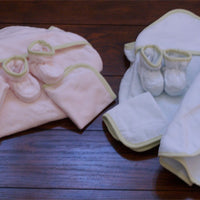 Organic Cotton Baby Towel, Multi Use Cloth, Wash Cloth, and Booties Set in Baby Pink or Baby Blue