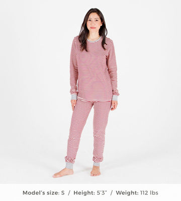 Organic Cotton Women's Cranberry Stripe Matching Pajama Set (top and bottom)