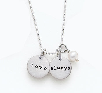 Women's Sterling Silver Love Always Matte Charms And A Pearl On Necklace