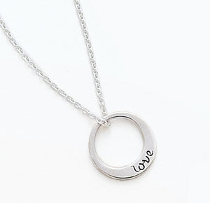 Women's Sterling Silver Small Single Open Circle - Love -  Necklace