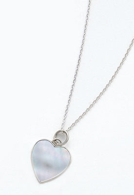 Women's Sterling Silver Mother Of Pearl Heart Shaped Necklace