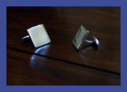Sterling Silver Men's Plain Cufflinks - Pair