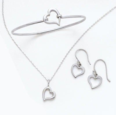 Women's Sterling Silver Open Heart Jewelry