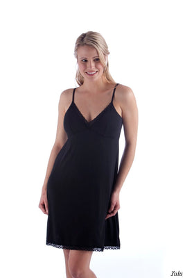 Black Bamboo Lace Nightgown (Size XS 2-4, M 10-12, XL 16)