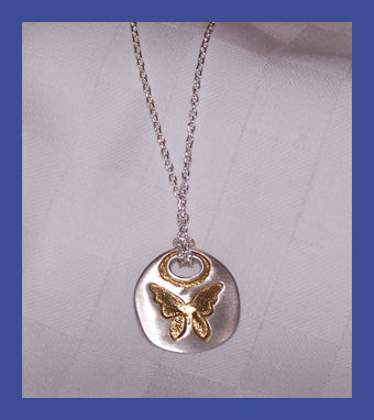 Women's Butterfly Necklace - Sterling and 24K Gold Symbol