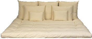 Top row- 3 Euro Pillow,  Middle row - 2 Standard Size Pillows,  Lower row: 2 Boudoir/Travel Pillow