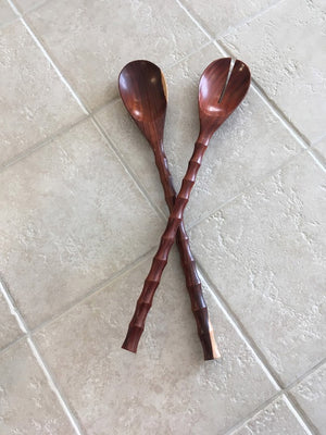 Rosewood Salad Servers With Bamboo Design Handles
