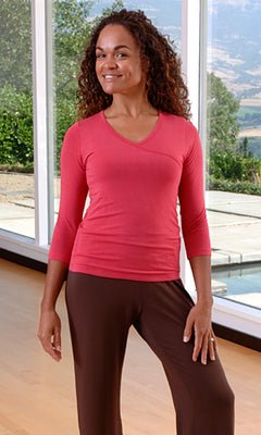 Bamboo 3/4 Sleeve Women's Journey Top in Pomegranate - S, M, L, XL