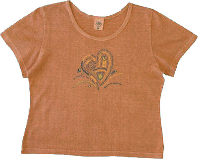Organic Cotton Clay Dyed Women's Heart Scoop Neck Shirts - XS, L, XL