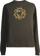 Organic Cotton Unisex ReCycle Long Sleeve T-Shirt in Brown - S, M, XL