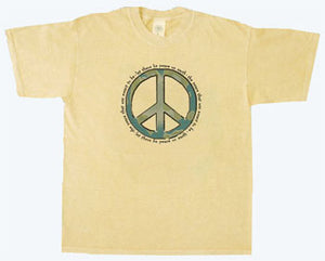 Organic Cotton Unisex World Peace T-Shirt in Citrine - S, M, L, XXL