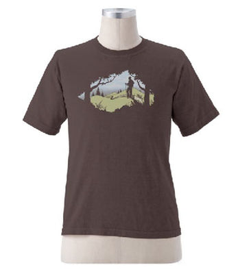 Organic Cotton Unisex Hiking Scene T-Shirt in Brown - S, M, L, XL, XXL