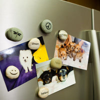 Engraved Beach Pebble Refrigerator Magnets