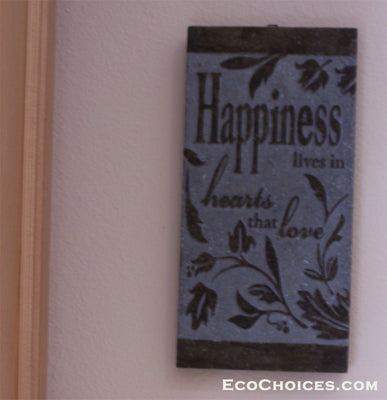 Sign: Carved Slate: Happiness