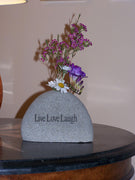 Engraved Stone Vase: Live Laugh Love